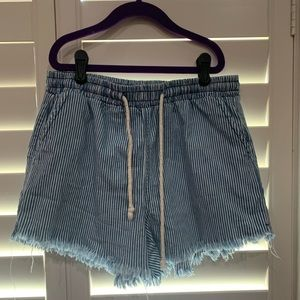 Blue and White Striped Paper Shorts | Wild Fable